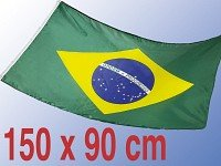 Drapeau Brésil 90 x 150 cm, très résistant, sans cadre, pas de tissu en porcelaine pas cher, poids 100 g / m², oeillets en laiton ronds très résistants et très cousus
