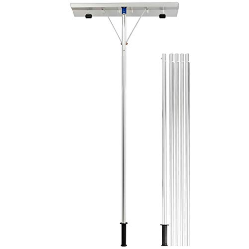 GYMAX Extendable Aluminum Snow Rake, 5'-20' Scratch Free Snow Rake with 26'...