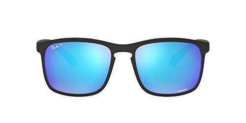 Ray-Ban Men's RB4264 Chromance Sunglasses, Matte Black/Polarized Blue Mirror, 58 mm