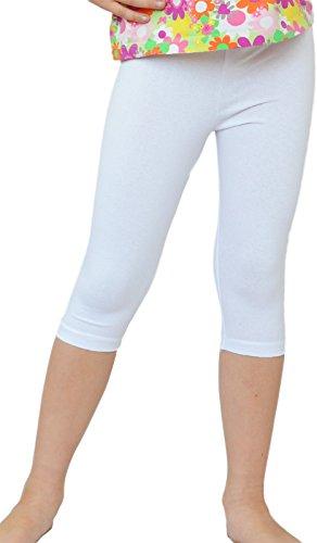 Kinder / Mädchen 3/4 kurz Leggings aus Baumwolle (134, Weiß)
