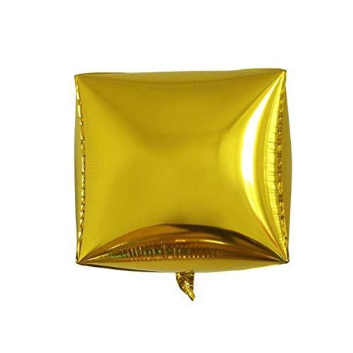 TOYANDONA 5pcs 24 Pollici Palloncini 4d Forma Quadrata Palloncini in Alluminio Decorazione per Festa Compleanno Weddin (Dorato)