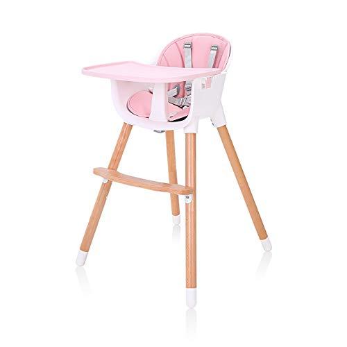 Baby Vivo Hochstuhl 2in1 Baby Kinder Babyhochstuhl Kombihochstuhl Abnehmbares Verstellbares Tablett - Lani in Pink