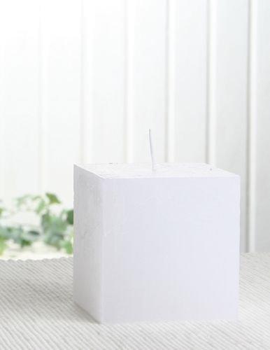 Rustik-Stumpenkerze, viereckig, 7,5 x 7,5 x 7,5 cm Ø, weiß