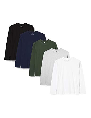Lower East Camiseta de manga larga Hombre, Pack de 5 Mehrfarbig (Weiß/Schwarz/Grau/Blau/Grün), Small