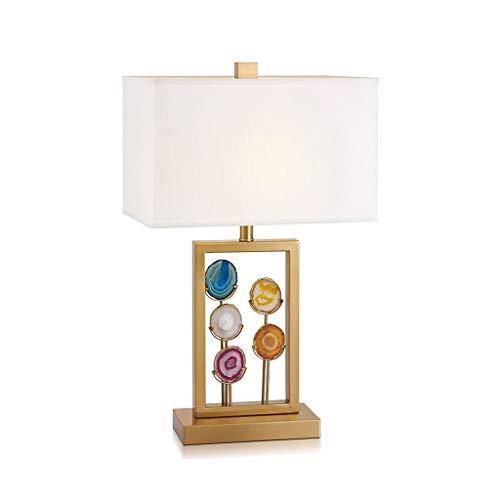 &Luz para leer Lámpara de mesa americana Simple Post-moderna de hierro dorado ágata pieza de tela mesa de dormitorio de la lámpara lámpara de cabecera de la sala del hotel lámpara decorativa Lámpara d