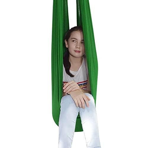 Columpio De Terapia Interior para Niños Y Adolescentes Hamaca Suave para Niños con Necesidades Especiales Integración Sensorial Camping Al Aire Libre (Color : Green, Size : 150 * 280cm)