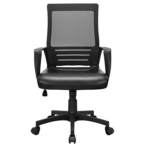 High Back Ergonomic Swivel Lumbar Office Chair, Adjustible Support Desk Leather Padded Seat, Ergonomic Mesh Chair, Computer Desk Chair with Armrests (Black)