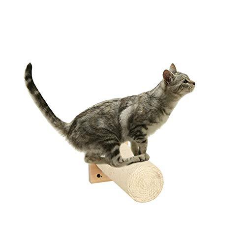 MOUHIV 1Pcs Sisal Griffoir, Mural Scratcher avec Base, Compatible avec Arbre à Chat, Escalier pour Chat, Marches d'escalade Kitty, Échelle de rayonnage pour Chaton, Blanc à la Main 25CM