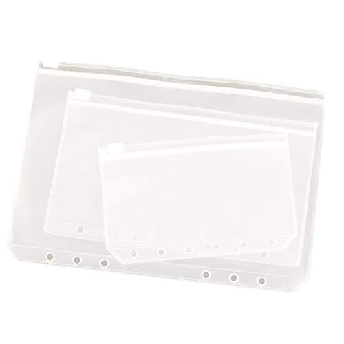 Keyzone 6 Löcher Binder Taschen Reißverschluss Ordner aus Kunstoff wasserdichte Loose Blatt Dokumententaschen für Rechnung Geld Briefpapier Karten (Binder Tasche A6)