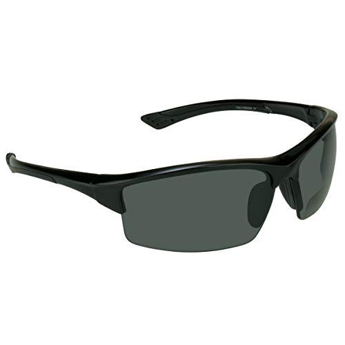 professional proSPORT Polarized Bifocal Sunglasses +2.00 Men's and Women's Black Frame Smoke Lens