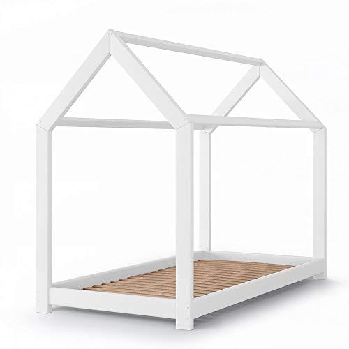 VitaliSpa Kinderbett Wiki Hausbett Kinderhaus Bett Massivholz Holz Holzbett Kinder (Weiß, 90 x 200 cm)