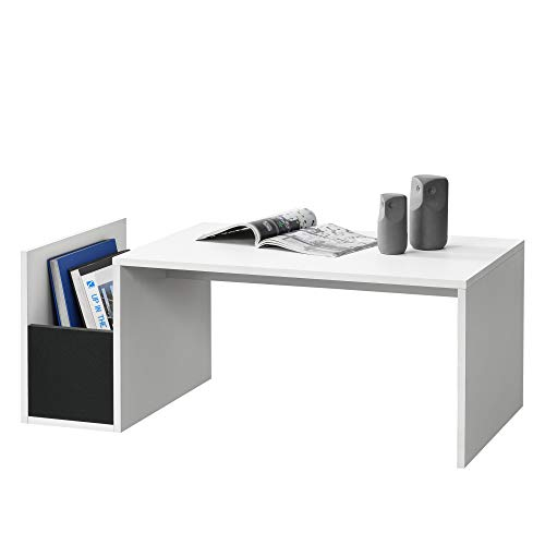 [en.casa] Tavolino da caffè/da Divano con Contenitore Laterale 90 x 45 x 35 cm Tavolo Basso da Salotto/Soggiorno in Forma Rettangolare - Bianco