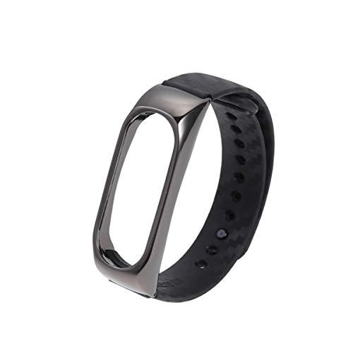 UKCOCO braccialetti cinturino di ricambio in fibra di carbonio Shell Cover Accessori della braccialetto intelligente per Xiaomi Mi Band 2(Nero)