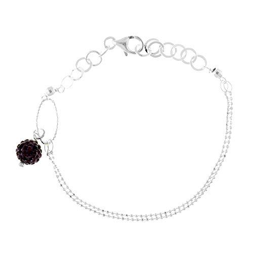 Córdoba Jewels   Pulsera en Plata de ley 925 con diseño Sfera Strass Frambuesa Silver