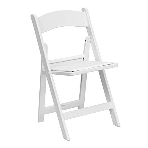 Flash Furniture HERCULES Series 1000 lb. Capacity White Resin Folding Chair with White Vinyl Padded Seat