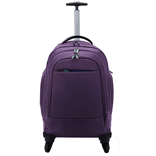 Adlereyire Trolley Bag 56 Liters,Lightweight and Waterproof Roller Bag Holdall with Wheels Functional Cabin Luggage Bag for Laptops up to 21' (Color : Purple, Size : 35 * 28 * 59cm)