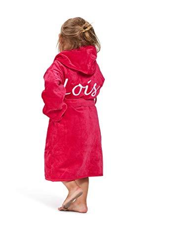 Badrock - Kinderbademantel mit Namen Bestickt - Rosa - Baumwolle - Mädchen und Jungen - mit Stickerei - Kinder Bademantel Personalisiert (152/158) - SKU 478