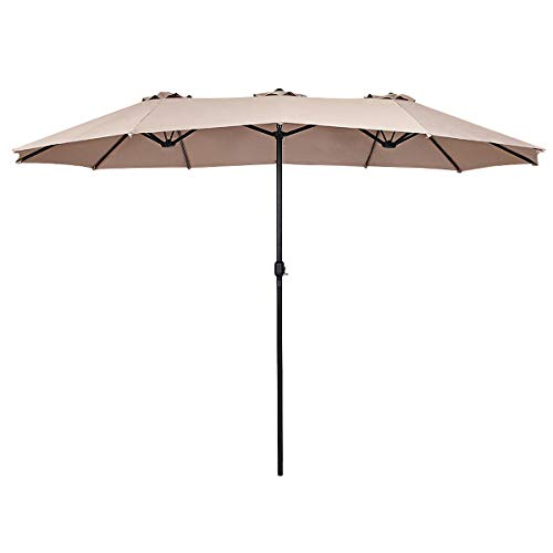 Tangkula 15 Ft Patio Umbrella Double-Sided Outdoor Market Table Umbrella with Crank (Beige)