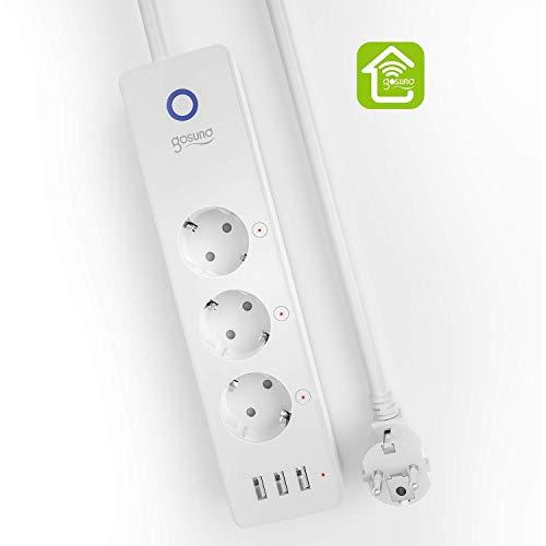 Gosund Smart WLAN Steckdosenleiste mit USB, Unabhängigem Schalter Mehrfachsteckdose mit Alexa und Google Home Sprachsteuerung, Stromverbrauch messen, Timer und APP Steuerung, 5 Fuß, NUR WIFI 2,4 GHz