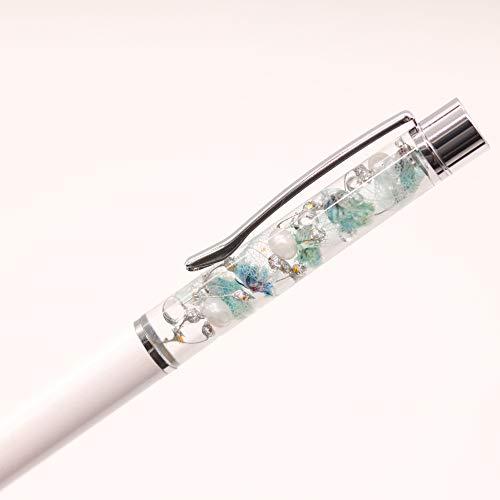 【ハーバリウムボールペン全11色クリアケース・替え芯1本セット】ホワイト×ブルー