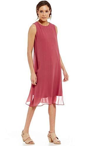 Eileen Fisher 100% Stretch Silk Jersey Rosewood Jewel Neck K/L Dress Size S MSRP $398