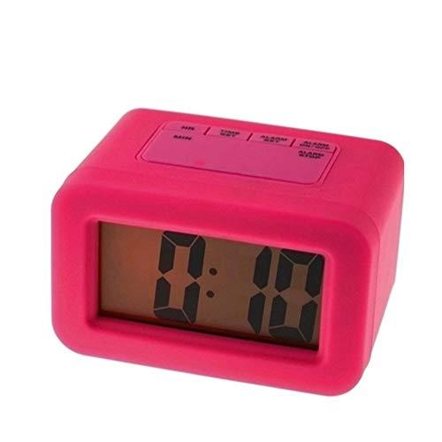 Elektronische wekker Elektronische wekker verstelbare groot scherm duidelijk zichtbaar bed kantoor makkelijk mee te nemen (Color : Rose red)