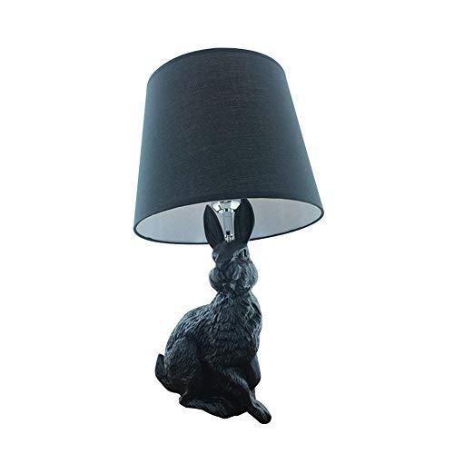 HYYYYY Modern Einfach Kaninchen Tischlampe Stoff Lampenschirm Harz Lampenkörper Mit Kabel Druckknopfschalter Innen beleuchtung Glihbirne Laterne Wohnzimmer Schlafzimmer Flur Café Bar Galerie Dachboden