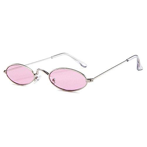 Aolvo - Occhiali da sole piccoli ovali, stile vintage, eleganti, rotondi, HD, per uomini, donne e ragazze Silver Frame Pink Lens