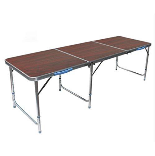 Mesa de comedor portátil de plástico plegable para interiores y exteriores, con asa, cerradura para picnic, fiesta, camping (color: marrón)