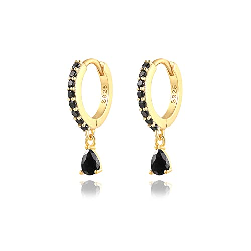 XAOQW Romántico colorido con cristales de circonita, aretes de aro redondos para mujer, pendientes de boda 925 de plata de ley 925