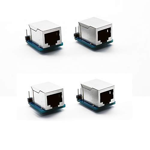 Treadax - Juego de 4 conectores RJ45 de 8 pines (8P8C) y placa de ruptura compatible con Ethernet DMX-512 RS-485 RS-422 RS-232 (sin ensamblar)