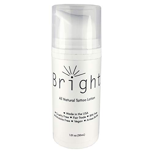 Bright Aftercare 30 mL All Natural Tattoo & Permanent Cosmetics and Microblading Lotion and Moisturizer Product, Water Based for Tattoo Protectant, Vegan Friendly and Cruelty Free