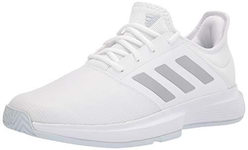 adidas Women's Gamecourt Tennis Shoe, Halo Blue/Silver Metallic/Solar Yellow, 7.5