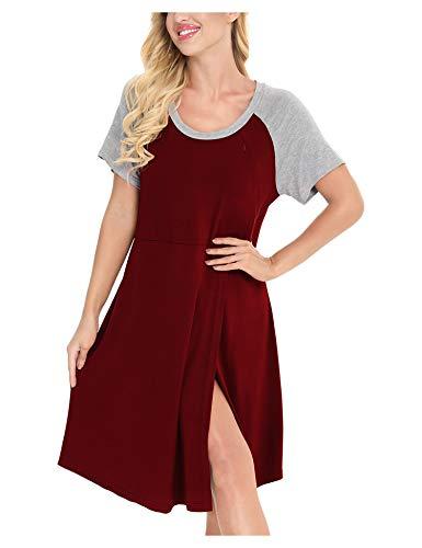 MiiKARE Brumoco 3 in 1 Nachthemd,Geburtskleid,Umstandskleid für Damen,Schlafanzug,Stillnachthemd,Schwangerschaftskleid zum Stillen-Weinrot,XXL