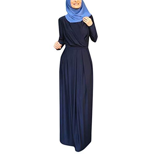 BoyYang Muslime Einfarbig Lange Roben Lose Beiläufig Kaftan Kleider Faltenrock - Langarm Vintage Abendkleider Muslim Kleid Maxi Abaya Kleid