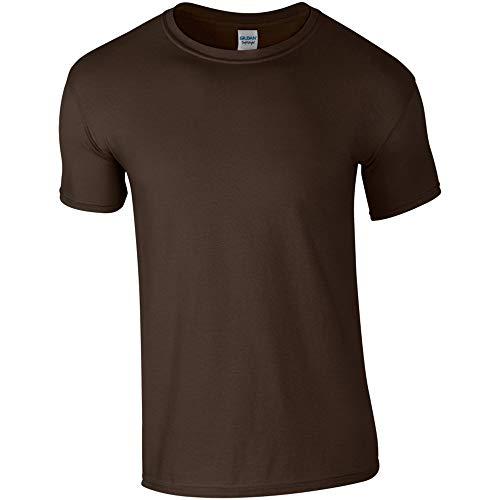 Gildan - Suave básica Camiseta de Manga Corta para Hombre - 100% algodón Gordo (Grande (L)) (Marrón Chocolate)