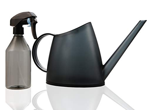 T-Markt Watering Can for Indoor Plants Long Spout 47oz 1.4L 1/3 Gallon with Plant Mister Spray Bottle 10oz 300 ml, Easy Use Modern Design Set (Black)