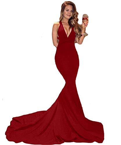 Promworld Damen Meerjungfrau Abendkleid Sexy V Ausschnitt Offener Rücken Ballkleider Kleider Lang Gr. 42, dunkelrot