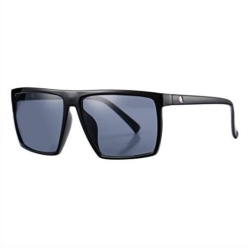 COASION Square Sunglasses for Men Women 100% UV Protection Designer Sun Glasses (Black Frame/Grey Lens)