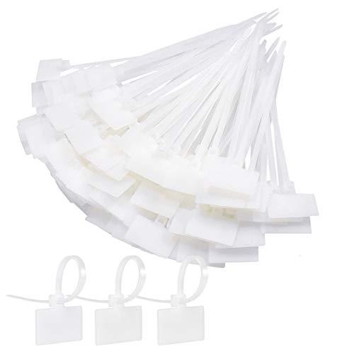 Fodlon Kabelbinder Set Weiß 200Pcs Kabelbinder Etiketten Selbstsichernde Kabelklemme mit Tags Kabelbeschriftung Kabelmanagement Schreibtisch Kabelorganisation Kabelbefestigung für Büro Familie