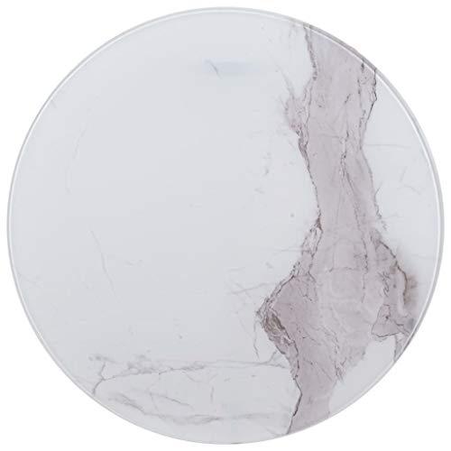 UnfadeMemory Tischplatte Glas Tischplatten ideal als Ersatzteil Glasplatte in Marmoroptik DIY Tisch für Esstisch Couchtisch Beistelltisch oder Gartentische(Rund Ø70 cm, Weiß)