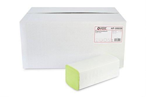 Quicky Papierhandtuch, ZZ-Falz, 25 x 23 cm, 2lag, Recycling - grün, 4000 Blatt, 1er Pack (1 x 1 Stück)