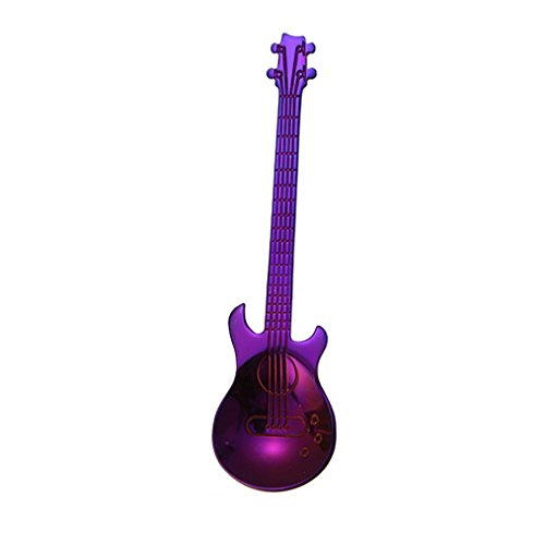 YJYDADA Stainless Steel Guitar Spoons Rainbow Coffee Tea Spoon Flatware Drinking Tools (Purple)