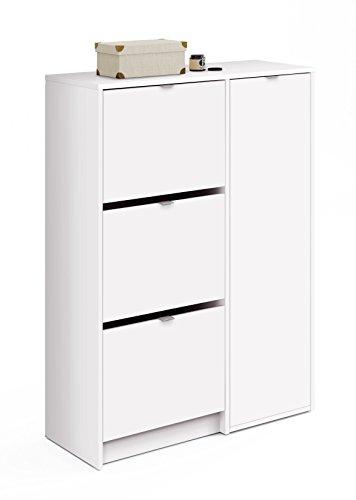 Zapatero con tres trampones abatibles y un departamento para botas en color blanco 122x85x37 cm