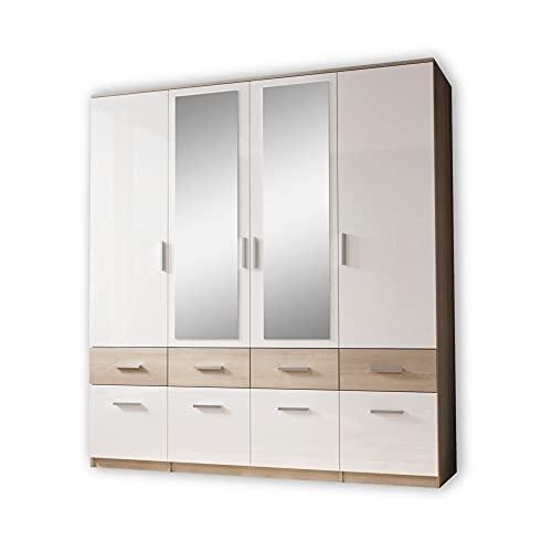 Stella Trading BOX Eleganter Kleiderschrank mit Spiegel & Schubladen - Geräumiger Drehtürenschrank in Sonoma Eiche Optik, Weiß - 180 x 198 x 55 cm (B/H/T)