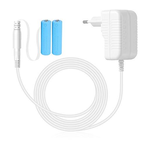 AIEVE Netzteil Adapter Batterieadapter Batterieersatz für 2 STK. AA Batterien für Fernbedienung/Lichterkette/LED Kerze/LED Timer/LED Bild (weiß, EU Stecker)