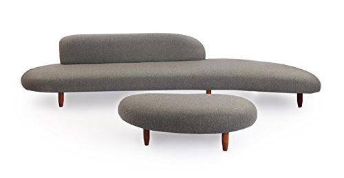 Kardiel Kidney Bean Mid-Century Modern Sofa & Ottoman, Cadet Grey Cashmere Wool/Walnut Legs