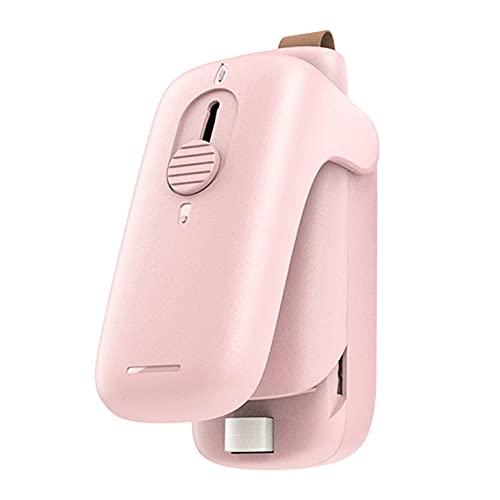 CCXX Mini Máquina de Sellado para Almacenamiento de Snacks, Selladora Térmico y Cortador para Bolsas de Plástico, Alimentado por Pilas AA,Pink