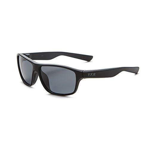 Yufenra Leisure sport occhiali da sole polarizzati per golf, pesca, attività all'aperto, Uomo, Matte Black Frame/Grey Lens