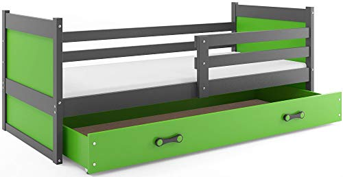 Interbeds Children's single bed RICO 190 x 90 grey + variations, wooden slatted base, without mattress (Green)